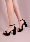 70s Chunky Heel Platform Shoes Black