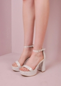 70s Chunky Heel Platform Shoes Silver