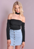 90s Cold Shoulder Choker Top Black