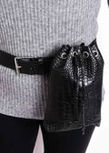 Croc Faux Leather Pouch Belted Bum Bag Black