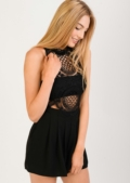 Aisha Cut Out Lace Insert Playsuit Black