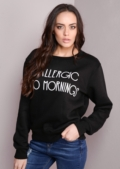 Allergic To Mornings Slogan Sweatshirt Black
