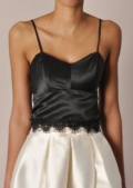 Satin Bralet Crop Top with Lace Trim Details Black