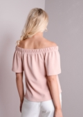 Bardot Off The Shoulder Crop Top Nude