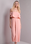 Bardot Off The shoulder Layered Culotte Jumpsuit Nude Pink