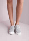 Black and Grey Sequin Slip on Plimsoll