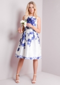 Blue Rose Print Fit and Flare Midi Dress In White