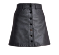 Button Up Mini Leather Skirt Black