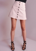 Button Up Mini Leather Skirt Pink