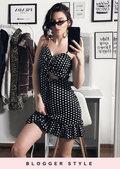 Polka Dot Bow Tie Front Frill Mini Dress Black