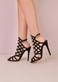 Caged Open Toe Faux Suede Stiletto Heels Black