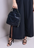 Chain Edge Roll Top Clutch Bag Shimmery Black