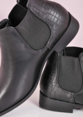 Faux Leather Slip On Chelsea Boots Black
