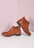 Faux Leather Slip On Chelsea Boots Brown