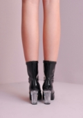 Clear Perspex Block Heel Leather Ankle Boots Black