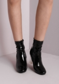 Clear Perspex Faux Suede Ankle Boots Black-Copy
