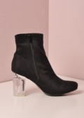 Clear Perspex Faux Suede Ankle Boots Black