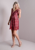 Crochet Overlay Lace Party Skater Dress Red
