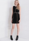 Cross Stitch Insert Bodycon Dress Black