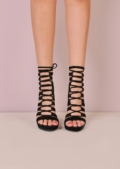 Cut Out Lace Up Open Toe Faux Suede Heels Black