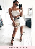 Frilled Tie Back Crop Top and Skirt Co Ord Set White