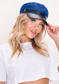 PU Trim Baker Boy Military Hat Blue
