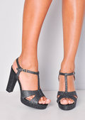Glitter Peep Toe Platform Heeled Sandals Black