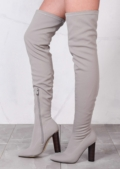 Round Block Heel Knit Stretchy Over The Knee Boots Grey