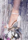 Glitter Diamante Block Heeled Ankle Strap Heeled Sandals Silver