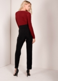 Chrissy Colour Block Jumpsuit Oxblood