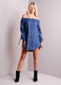 Dalary-Dark-Blue off shoulder dress