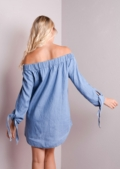 Dalary-Light-Blue denim off shoulder dress
