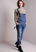 Denim Buckle Front Pocket Dungarees Blue
