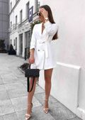Double Breasted Belted Longline Blazer Mini Dress White