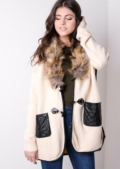 Faux Fur Collar Knitted Patch Pocket Cardigan Cream