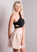 Fit and Flare Bandage Skater Mini Skirt Nude