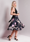 Flared Pink Floral Print Midi High Waisted Skater Skirt Black