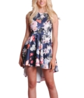 Dipped Hem Floral Print Skater Shift Dress Navy