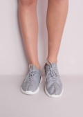Grey Textured Trainers Ribbed Sole