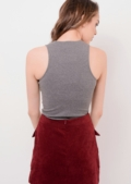 High Neck Basic Tee Grey Ally | Lily Lulu Fashion