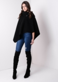 High Neck Three Button Wool Winter Cape Jacket Black
