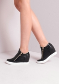 High Top Zip Detail Wedge Trainers White Sole in Black