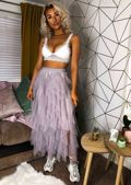 High Waisted Layered Tulle Ruffle Midi Skirt Grey
