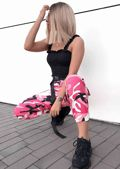 High Waisted Utility Cargo Fitted Joggers Trousers Camo Pink