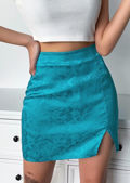 Floral Print Front Split A Line Satin Mini Skirt Blue