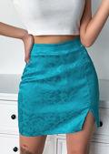 Floral Print Front Split A Line Satin Mini Skirt Blue