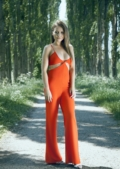 Jaya Cut Out Jumpsuit Orange
