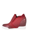 Jewel Studded Reptile Wedge Trainers Burgundy