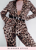 Animal Print Wrap Over Blazer Suit Co Ord Multi