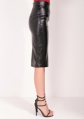 Kallie Leather Look Midi Skirt